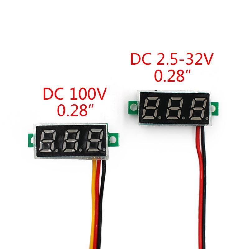 Цифровой вольтметр 0.28' 0-100В питание от 4 до 24В без корпуса