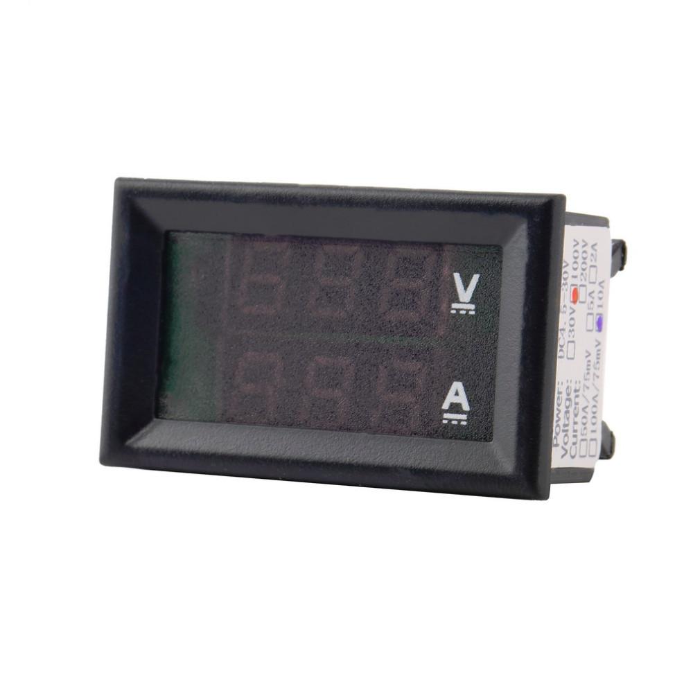 Цифровой вольтметр/амперметр DC0-100V 10А (постоянного тока, встраиваемый)
