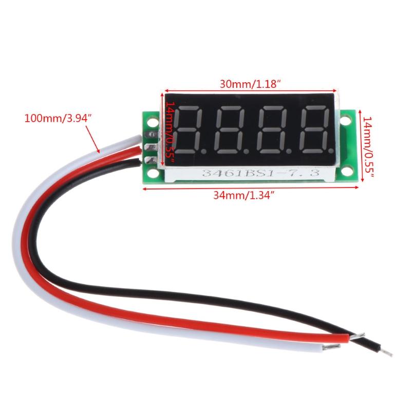 Цифровой вольтметр 0.36' 0-500В питание от 4 до 24В без корпуса