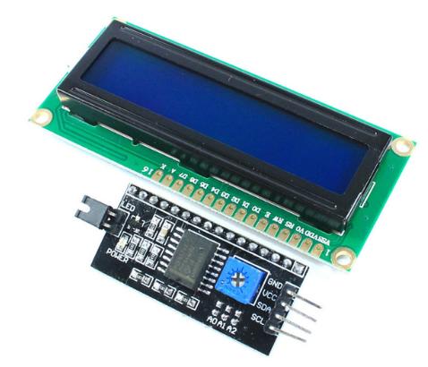 Символьный ЖК-ДИСПЛЕЙ 1602A голубой/зеленый + interface IIC/I2C