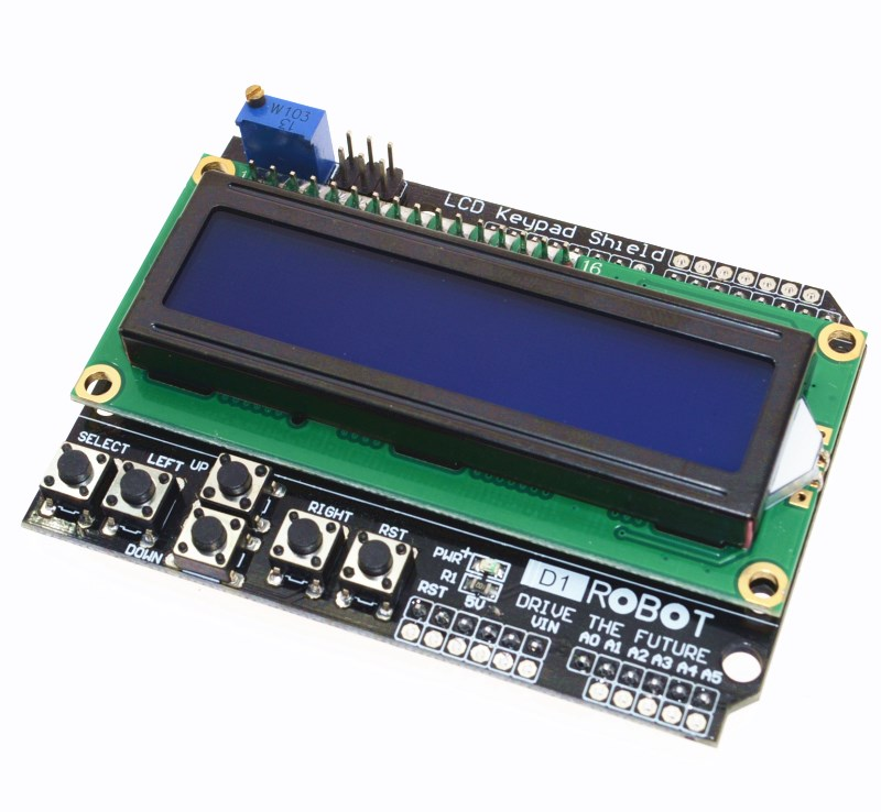 Символьный ЖК-ДИСПЛЕЙ 1602A голубой + key + interface IIC/I2C