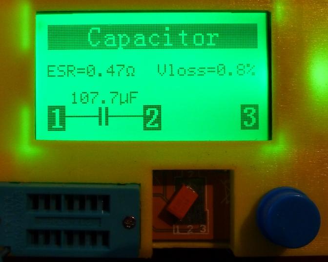 Тестер радиодеталей ESR-T4 метр RLC (li-ion 18650x1+котролер заряда)