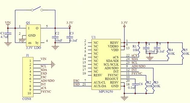 Модуль GY-9250 гироскоп + акселерометр + магнитометр