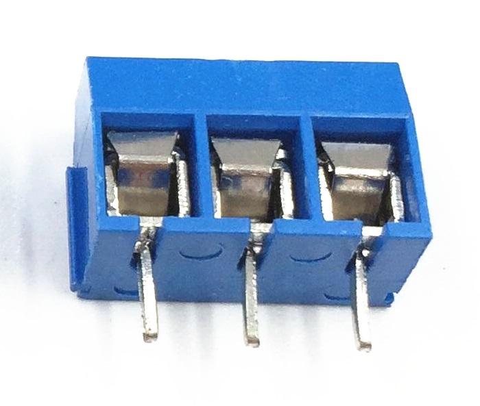 Клеммник винтовой KF301-5.0-3P 3-контактный. шаг 5мм синий 300V/10A