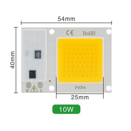 Светодиод 10W 220V 100lm/W 2800-3200K теплый, COB LED