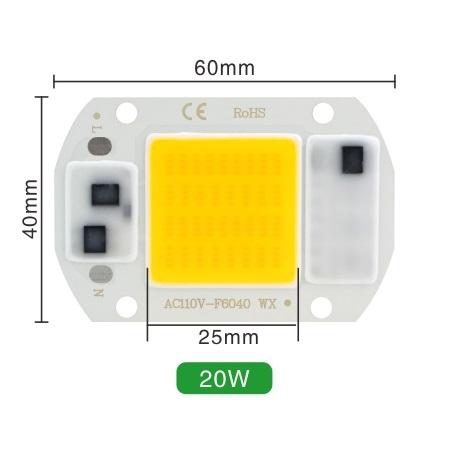 Светодиод 20W 220V 100lm/W 5500-6000K холодный, COB LED