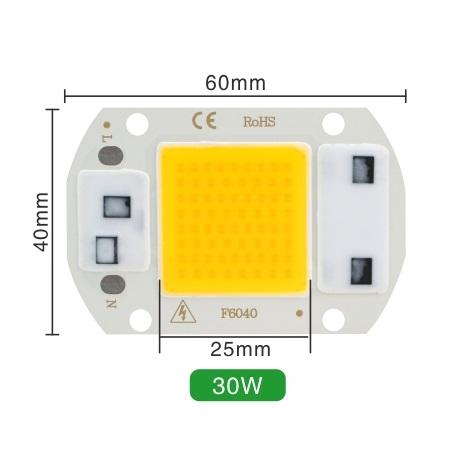 Светодиод 30W 220V 100lm/W 5500-6000K холодный, COB LED