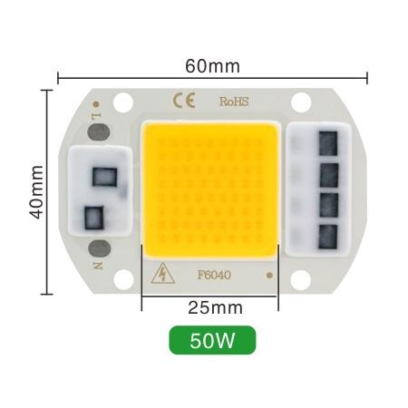 Светодиод 50W 220V 100lm/W 2800-3200K теплый, COB LED