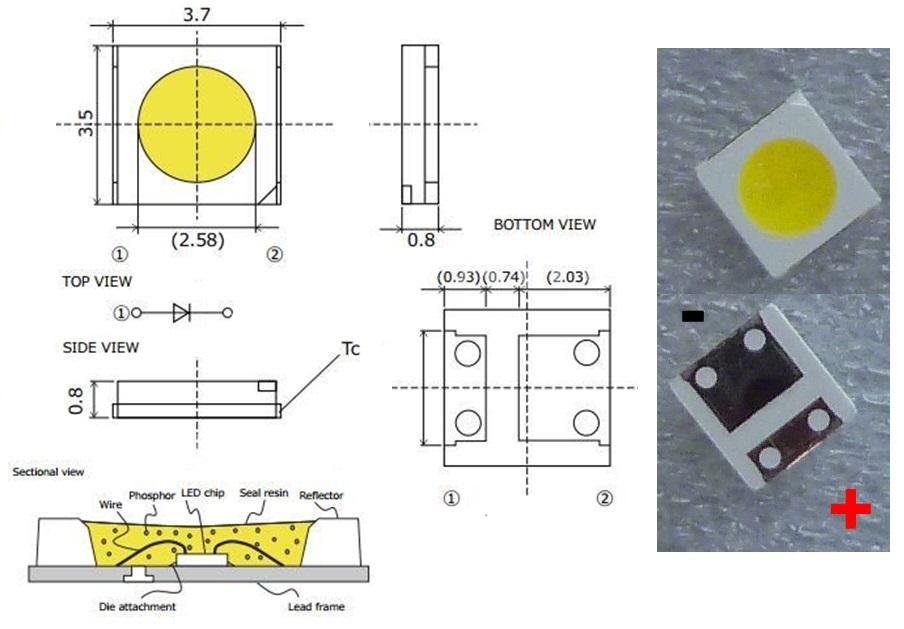 Светодиод SMD 3V 1W (2.8-3.8V 160mA max175) 3535 3537 97LM холодный белый, MSL-635PHZW-F46, LED