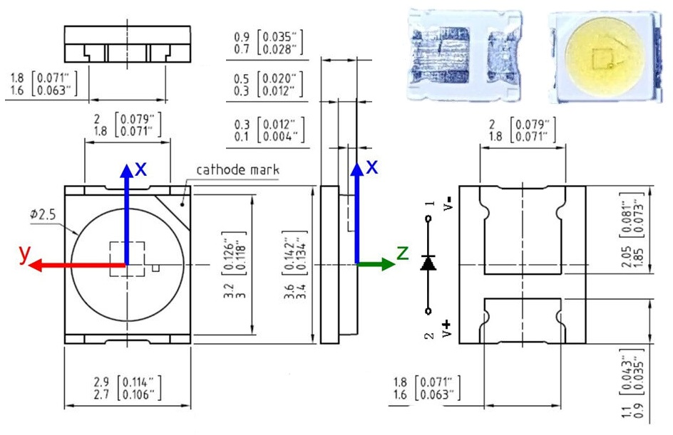 Светодиод SMD 3V 1.5W (3-3.6V 350mA max500) 3528 2835 131LM холодный белый, OSRAM, LED