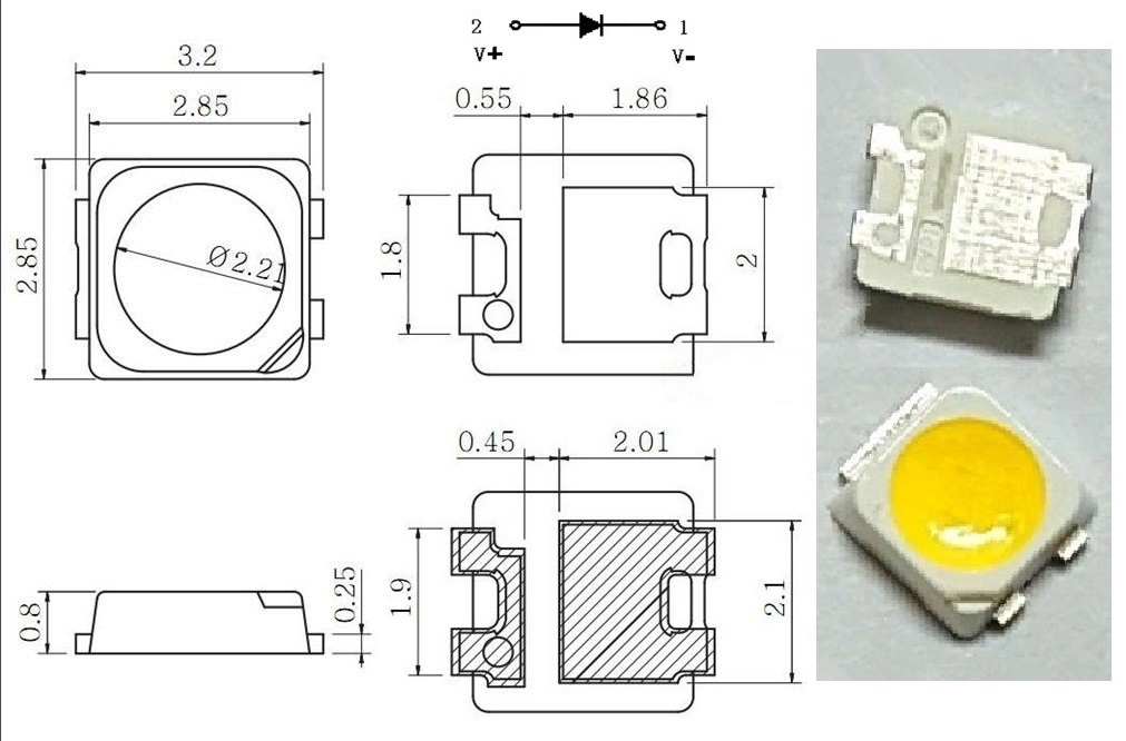 Светодиод SMD 3V 1.5W (3.3-3.9V 400mA max570) 3228 2828 110LM холодный белый, SPBWH1320S1EVC1BIB, TT321A, LED