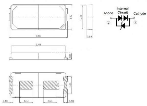 Светодиод SMD 6V 1W (5.8-6.6V 93mA max140) 7030 130LM холодный белый, LEWWS73V15CZ00, LED
