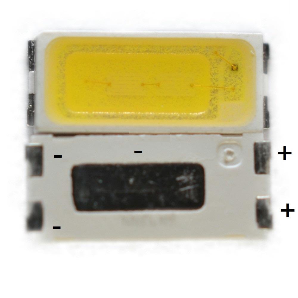Светодиод SMD 6V 1W (5.60-6.6V 120mA max150) 7030 90LM холодный белый, STWBX2S0E, LED
