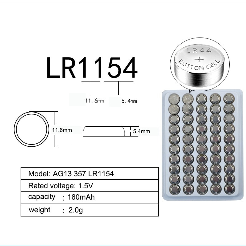 Элемент питания AG13 LR44 G13-D303 L1154F EPX76 L1154 RW82 357 SR44 A76