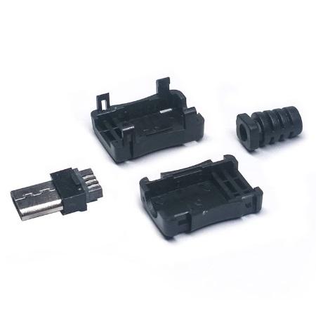 Штекер/вилка папа Micro USB тип B разборный на провод с резинкой, под пайку