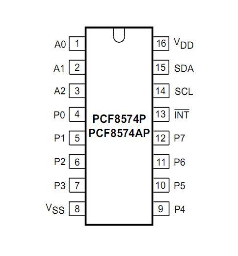 Расширитель портов PCF8574P DIP-16 I2C I/O 8-бит