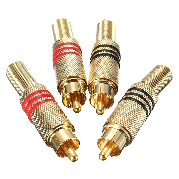 Разъем штекер RCA металл Gold на кабель
