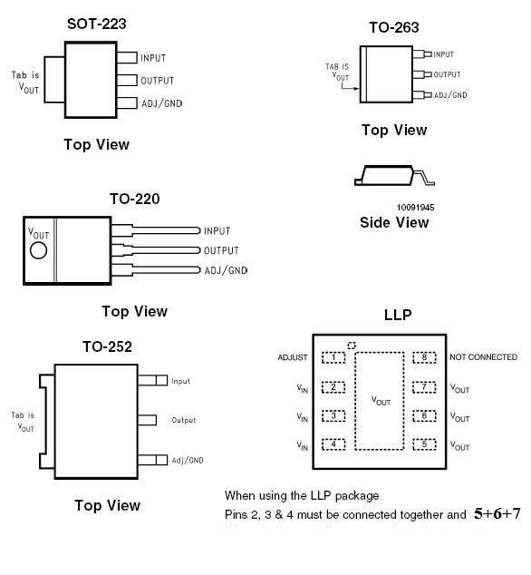 Линейный регулятор AMS1117-3.3, 800мА, 3.3В,  с малым падением напряжения [SOT-223]