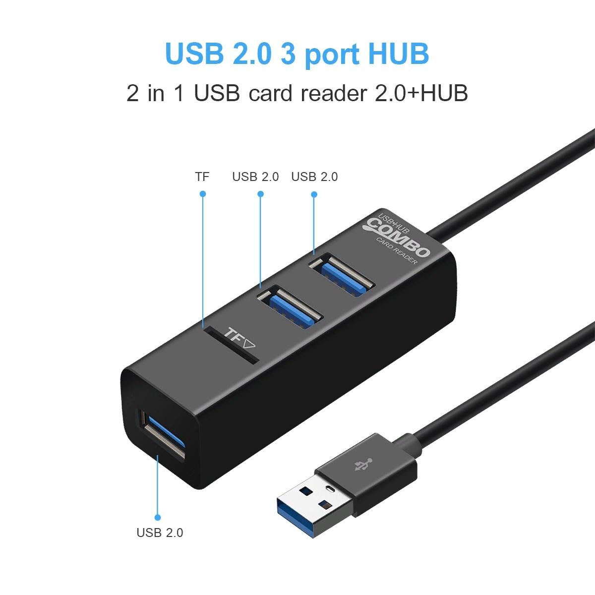 USB-разветвитель 3 порта USB2.0 + карт ридер TF (USB HUB)