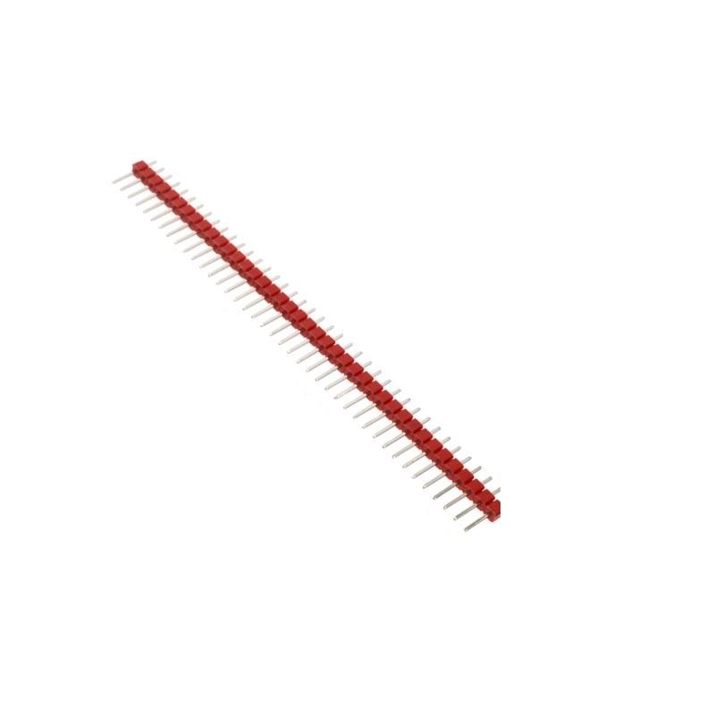 Соединители штыревые на плату 1х40 PIN 2.54мм прямой красный