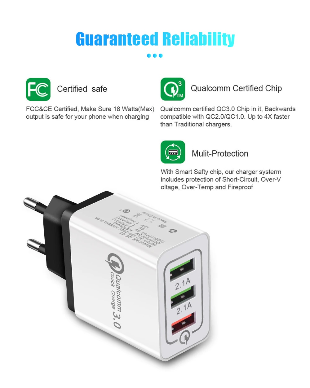 Блок питания импульсный AC100V-240V QC3.0 DC5V 4.8А 3-канала USB Charger