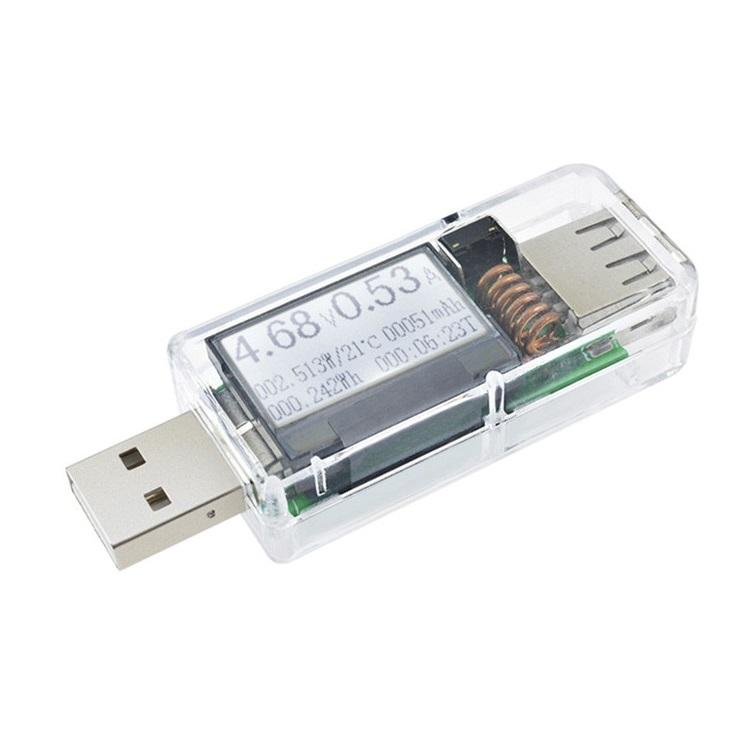 Тестер вольтметр/амперметр USB 4-30В, 12 в 1 (прозрачный, синий)