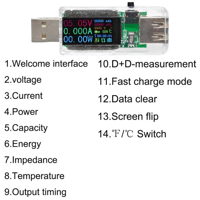 Тестер вольтметр/амперметр USB 4-30В, 14 в 1, QC3.0 USB 2.0